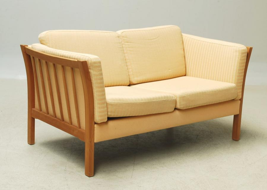 2 Seat Sofa beech frame light yellow woolen upholstery2.jpg
